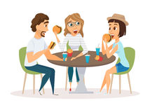 Friends eating fast food Stock Images