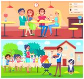 Friends Eating Pizza Cafe and Grilling BBQ Garden Stock Illustration