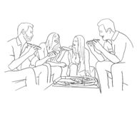 Friends eating pizza. Handmade drawing on white background. Group of friends eating pizza on the sofa. Two girls and two young boys royalty free illustration