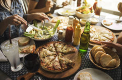 Friends Eating Pizza Party Together Concept. Friends Eating Pizza Party Together Royalty Free Stock Photo