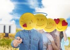 Friends emoji face selfi. Digital composite of friends emoji face selfi Royalty Free Stock Photo