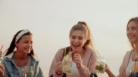The friends enjoy their summer urban cocktails standing on the roof of the house and clinking glasses stock video footage