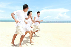 Friends Enjoying Beach Together Royalty Free Stock Photography