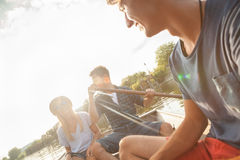 Friends Enjoying On A Boat Royalty Free Stock Photography