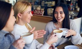 Friends enjoying conversation and drinking coffee at cafe stock image