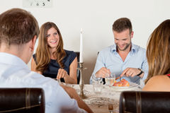 Free Friends Enjoying Dinner At Home Royalty Free Stock Photos - 33769758