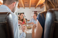 Free Friends Enjoying Dinner At Home Stock Image - 33769911