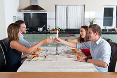 Friends enjoying dinner at home royalty free stock images