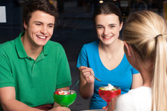 Friends enjoying meal outdoors Stock Photos