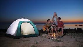 Friends enjoying music near campfire at night stock video