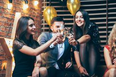 Friends enjoying party and cheering drinks. Group of friends enjoying party and cheering drinks. New year, Birthday, Holiday Event concept Royalty Free Stock Photos