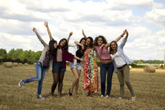 Friends enjoying themselves in a field. Royalty Free Stock Images