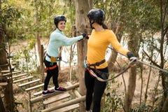 Friends enjoying zip line adventure in park. Happy friends enjoying zip line adventure in park Stock Image