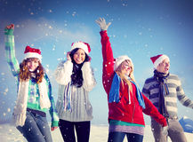 Friends Enjoyment Winter Christmas Concepts stock photo