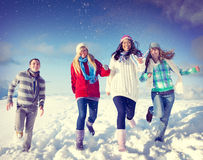 Friends Enjoyment Winter Holiday Christmas Concept Stock Photos