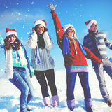 Friends Enjoyment Winter Holiday Christmas Concept Stock Images