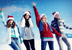 Friends Enjoyment Winter Holiday Christmas Concept Royalty Free Stock Photography