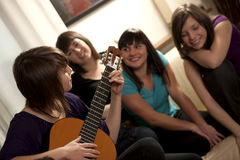 Friends enjoys music Stock Photos