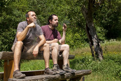 2 friends evaporate e-cigarette in nature stock photos