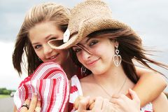 Friends for ever. Complicity between two beautiful teenager stock photos