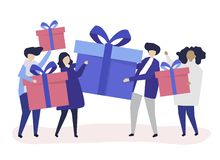 Friends exchanging gift boxes with one another vector illustration
