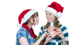 Friends Exchanging Gifts Stock Photo