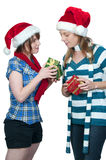 Friends Exchanging Gifts Royalty Free Stock Photos