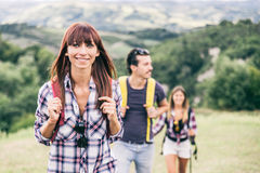 Friends on a excursion in the nature royalty free stock photography