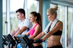 Friends  exercising on a treadmill at the bright modern gym Stock Image