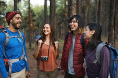 Friends Explore Nature Outdoors Concept stock image