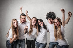 Friends exulting Royalty Free Stock Photos