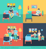 Friends and family watch TV - home furniture flat vector Royalty Free Stock Photo