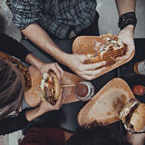 Friends In Fast Food Restaurant Stock Photography