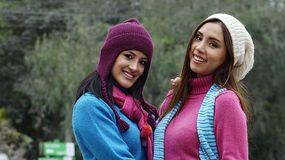 Friends Females Wearing Sweaters Stock Images