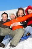 Friends on flank of hill royalty free stock photography