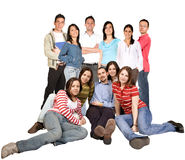 Friends on the floor and standing Royalty Free Stock Image
