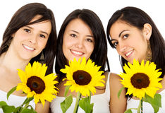 Friends with flowers Stock Photography