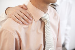 Friends forever. Two businessman with hand on shoulder, real teamwork Stock Photos