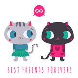 Friends forever cute grey cat in skirt and sweater and black cat in dress with speech bubble and infinity sign illustration Royalty Free Stock Photo