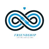 Friends Forever, everlasting friendship conceptual vector symbol. Isolated on white background Royalty Free Stock Images