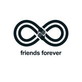 Friends Forever, everlasting friendship conceptual vector symbol Royalty Free Stock Image