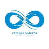 Friends Forever, everlasting friendship unusual vector logo comb. Ined with two symbols of Infinity and human hands vector illustration