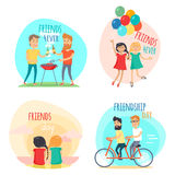 Friends forever. Friendship Day Illustrations Set Royalty Free Stock Images