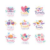 Friends forever logo design set, Happy Friendship Day creative badges can be used for banner, poster, greeting card, t. Shirt vector Illustration isolated on a stock illustration