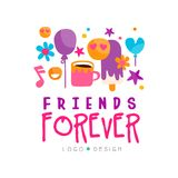 Friends forever logo template with cup of tea, balloons, stars, flowers, ice-cream and emoji. Friendship theme. Abstract. Friends forever logo template with cup Royalty Free Stock Photography