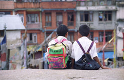 Friends forever. Young friends looking at the view. Made in India Royalty Free Stock Images