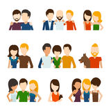 Friends and friendly relations flat icons Stock Photography