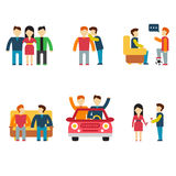 Friends and friendly relationship flat line icons Stock Photo