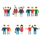 Friends and friendly relationship flat line icons Royalty Free Stock Photography