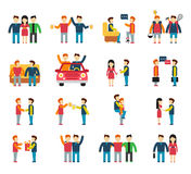 Friends and friendly relationship social team flat Royalty Free Stock Images